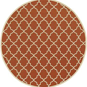 Riviera 4770d orange/ivory indoor/outdoor rug round 7'10
