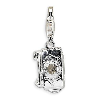 925 Sterling Silver Moveable Rhodium plated Fancy Lobster Closure 3 D Polished Movable Camera With Lobster Clasp Charm P