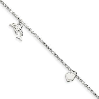 925 Sterling Silver Fancy Lobster Closure Polished Love Heart Star and Dolphin Anklet 9 Inch Jewelry Gifts for Women