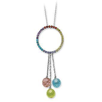 925 Sterling Silver Spring Ring Rhodium pläterade Multi färg CZ Cubic Zirconia Simulerad Diamond Halsband 18 Tums Smycken