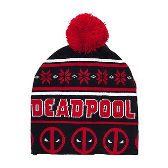 Deadpool Beanie Hat Christmas angry face log bobble new Official Marvel Black