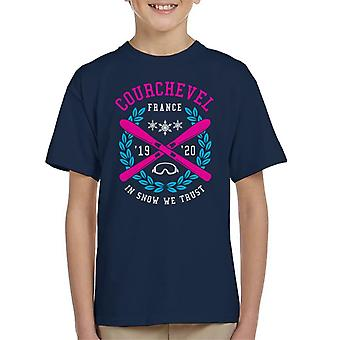Courchevel France '19 '20 Skiing Crest Kid's T-Shirt