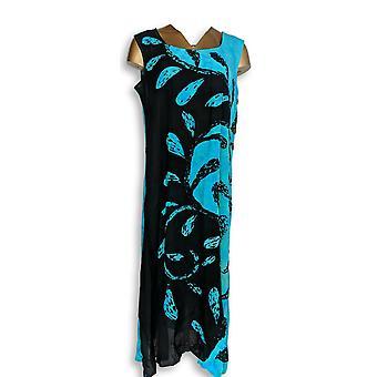 Metropolitan Dress Midi Length Woven Sleeveless Black/ Aqua Blue