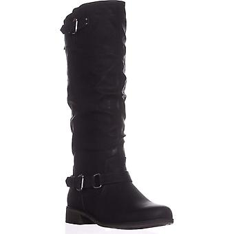 Xoxo Womens Moira Fabric Round Toe Knee High Riding Boots
