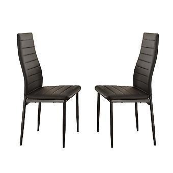 BiCast Vinyl Side Chairs With Curvy Backs, Set of 2, Black