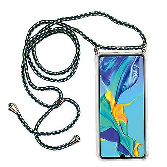 Telefoon keten voor Huawei P30-smartphone ketting geval met lint-snoer met geval te hangen in het groen
