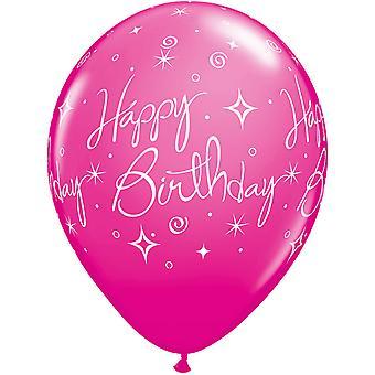 Qualatex 11 Inch Happy Birthday Elegant Sparkles Multicoloured Latex Balloons (Pack Of 6)