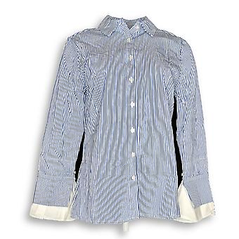 BROOKE SHIELDS Timeless Women's Top Striped Button Front Blue A341989 PTC