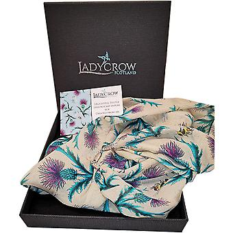 Silk Chiffon Thistle Collection Scarf by Ladycrow Scotland - Cream