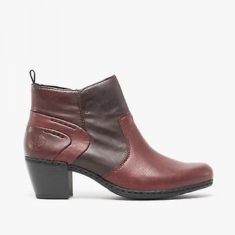 Rieker Y2160-36 Ladies Block Heel Ankle Boots Bordeaux/havanna
