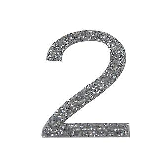 Silver Glitter Number Sticker - Number 2