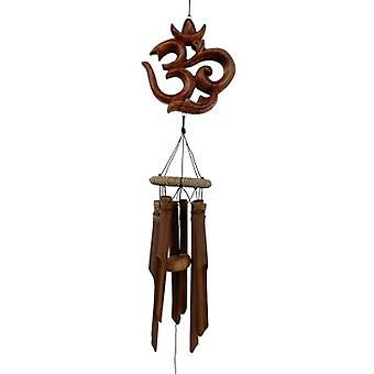 OM Symbole sculpté Bamboo Wind Chime