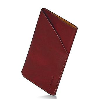 For iPhone 8,7,6S, 6 Pouch,iCoverLover Real Genuine Leather Bag,Reddish Brown