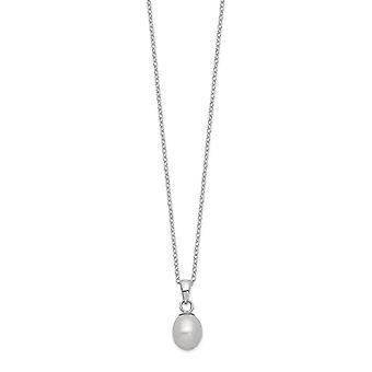 925 Sterling Silber Rhd plt 7 8mm /6 7mm grau Perle Halskette Ohrringe Set Schmuck Geschenke für Frauen