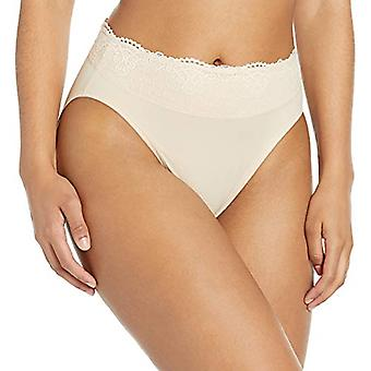 Bali Women's Passion for Comfort Hi-Cut Panty, Soft Taupe lace, 9