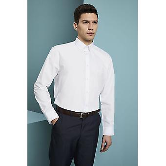 SIMON JERSEY Men's Long Sleeve Polycotton Button Down Collar Business Shirt, White