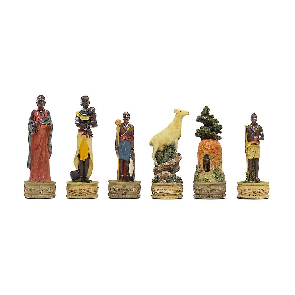 The Masai hand painted themed chess pieces by Italfama