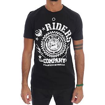 Frankie Morello Black Cotton Riders Crewneck T-Shirt