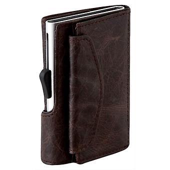 C-Secure Vintage Leather Coin Pocket Card Holder Wallet - Blackwood/Grey