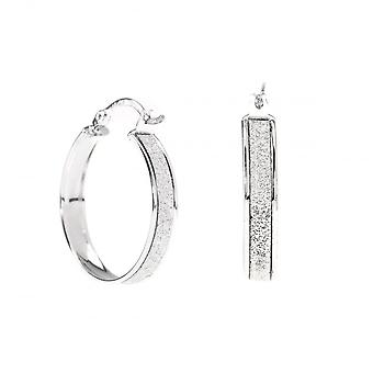 Eternity 9ct White Gold Round Stardust Creole Hoop Earrings