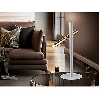 Schuller Varas - LED table lamp of 2 lights. Made of metal, bright gold and matt white finish. Opal acrylic diffuser. 10W LED, 900 lm, 3000 K. Plug type G (UK). - 373599UK