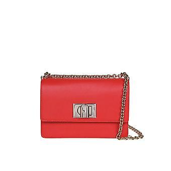 Furla 1057098 Women's Red Leather Shoulder Bag