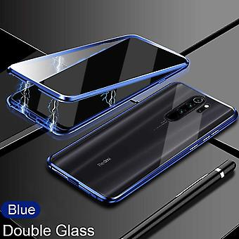 Double-sided 360 Degree Magnet / Glass Case Case Phone Case Bumper Blue for Xiaomi Redmi Note 8 Pro