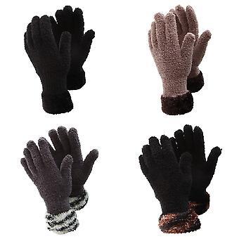 FLOSO damer/Womens fluffiga Extra mjuk Vinterhandskar med mönstrade Cuff