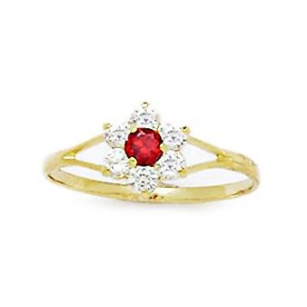 14k Yellow Gold Red CZ Cubic Zirconia Simulated Diamond Size 5.5 Flower for boys or girls Ring