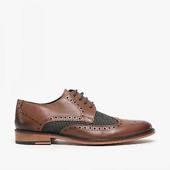 Roamers Fabian Mens Couro Houndstooth Brogue Sapatos Brown / cinza
