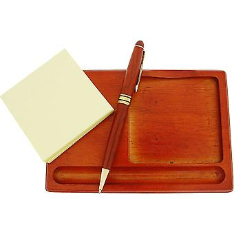 GTP Post Note, Pen & Tray Gift Set All In Rose Wood Finish IMP301Ro