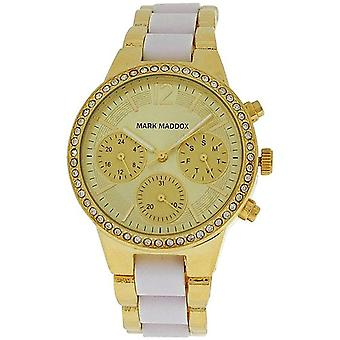 Marc Maddox Mesdames multifonction ton or cadran Bracelet bracelet Watch MP6002-25