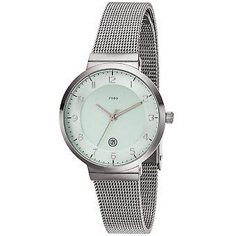 JOBO señoras muñeca reloj cuarzo analógico acero inoxidable fecha mate mens watch verde