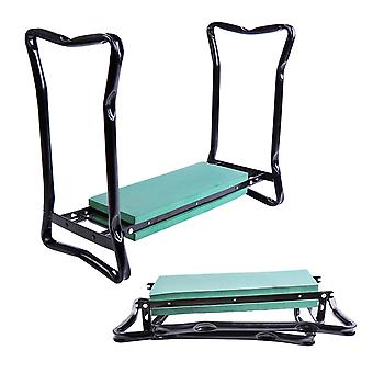 Outsunny 2-in-1 Garden Patio Seat Kneeling Pad Support Bench Foldable Knee Protector - Green