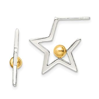 925 Sterling Zilver en Flash 14k Vergulde Ster en Ball Oorbellen Sieraden Cadeaus voor vrouwen
