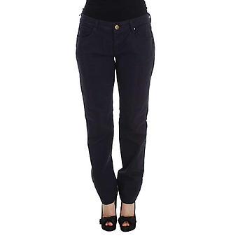 Blue Cotton Blend Casual Fit Pants -- SIG3770544
