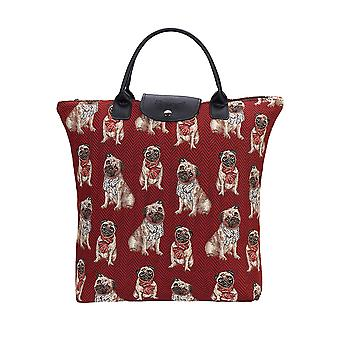 Pug foldaway shopping bag by signare tapestry / fdaw-pug