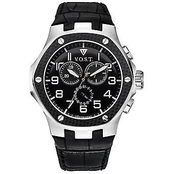 V.O.S.T. Germany V100.008 Men's Carbon Steel Chrono Watch 44mm