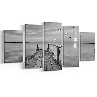 Weiße Sandmalerei Und schwarz Farbe weiß, Polyester Schwarz, Holz 20x3x40 cm, 20x3x50 cm, 20x3x60 cm
