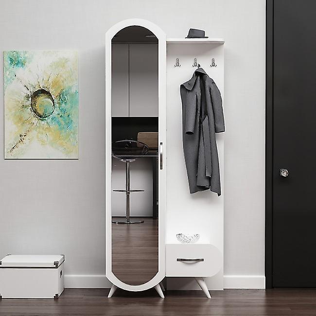 Entrée mobile Kerry Couleur Blanc, Chrome en puce melaminique, Métal 80x35x180 cm