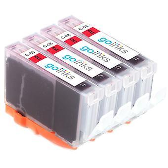 4 rote Tintenpatronen als Ersatz für Canon CLI-8R Compatible/Non-OEM von Go Inks