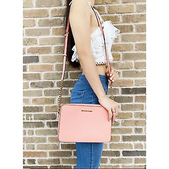 Michael kors jet set east west large crossbody peach saffiano leather