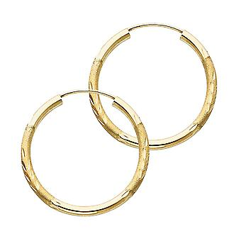 14k Yellow Gold 2mm Budded Sparkle Cut Endless Hoop 25mm Earrings Jewelry Gifts for Women