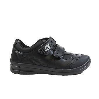 Startrite Rocket Black Leather Boys Rip Tape School Shoes
