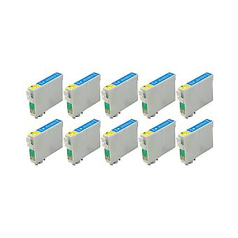 RudyTwos 10x Replacement for Epson Apple Ink Unit Cyan Compatible with Stylus SX230, SX235W, SX420W, SX425W, SX430W, SX435W, SX438W, SX440W, SX445W, SX445WE, SX525WD, SX535WD, SX620FW, Office B42WD, B