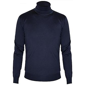 CC Collection Corneliani Navy Blue Knitted Rollneck Sweater
