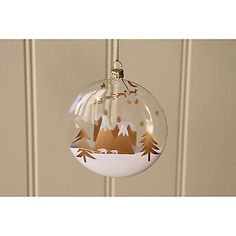 CGB Giftware Christmas Village Scene Glass Ball Bauble