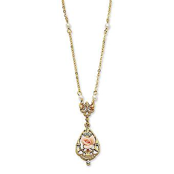 Gold tone Fancy Lobster Closure Crystal Pink Porcelain Rose Glass Pearl 17 In Neck Jewelry Gifts for Women