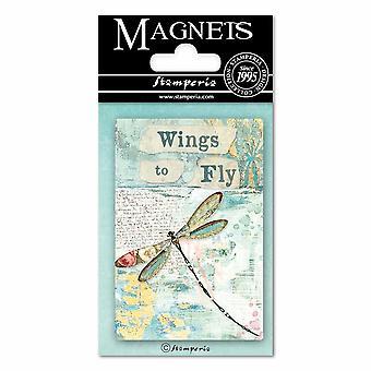 Stamperia Wonderland Libelle 8x5.5cm Magnet