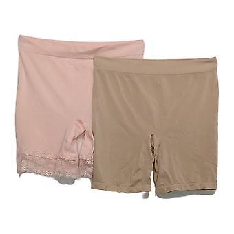 Breezies Plus Panties Seamless Short Set of 2 Pink A374503